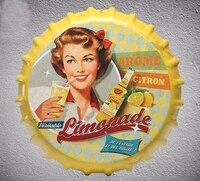 35 CM Lemonade DRINK Vintage BEER Bottle Cap Home Decorative Retro Iron Painting BAR Wall Hanging