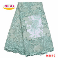Mint Green french rose lace fabric seqiuns tulle fabric 2018 high quality nigerian lace fabrics for wedding dress XY1626B 2