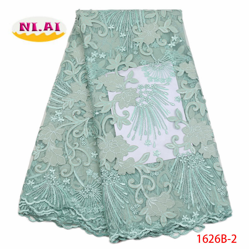 Mint Green french rose lace fabric seqiuns tulle fabric 2018 high quality nigerian lace  ...
