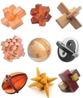 9PCS/Set Classic IQ Wooden Puzzle Mind Brain teaser Interlocking Burr Puzzles Game for Adults Children