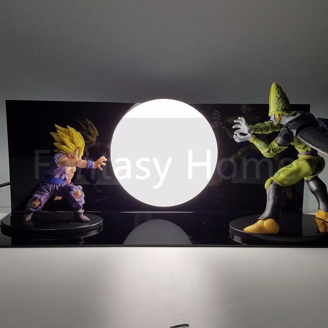 Dragon Ball Z Ação Figura Exibição Toy Dragonball Son Gohan vs Celular DIY GohanSuper Saiyan Figuras DBZ Figura + Lâmpada + Base