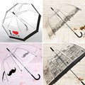 Hot Sale Long Handle Transparent Umbrella Creative Semi-automatic Sunny and Rainy Umbrella Women Girls Outdoor Tools