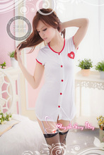 2015 Rushed Promotion Spandex Langerie Sex Products Baby Doll Nurse Taste Suits Button Uniform Temptation Charming Suit 2057
