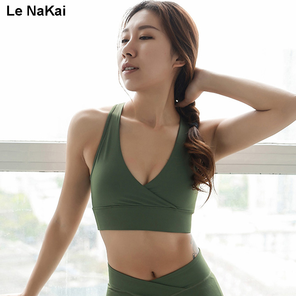 Le NaKai Deep V High Support Sports bra Open Back Mesh Yoga Bra Army Green fitness gym bra womens workout tank tops active wear ...