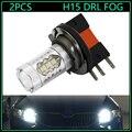 2 pcs de Alta Potência 80 W 16SMD LED H15 Lâmpadas Para Volkswage Nevoeiro Farol Luzes Diurnas externa Xenon Branco lâmpada do bulbo