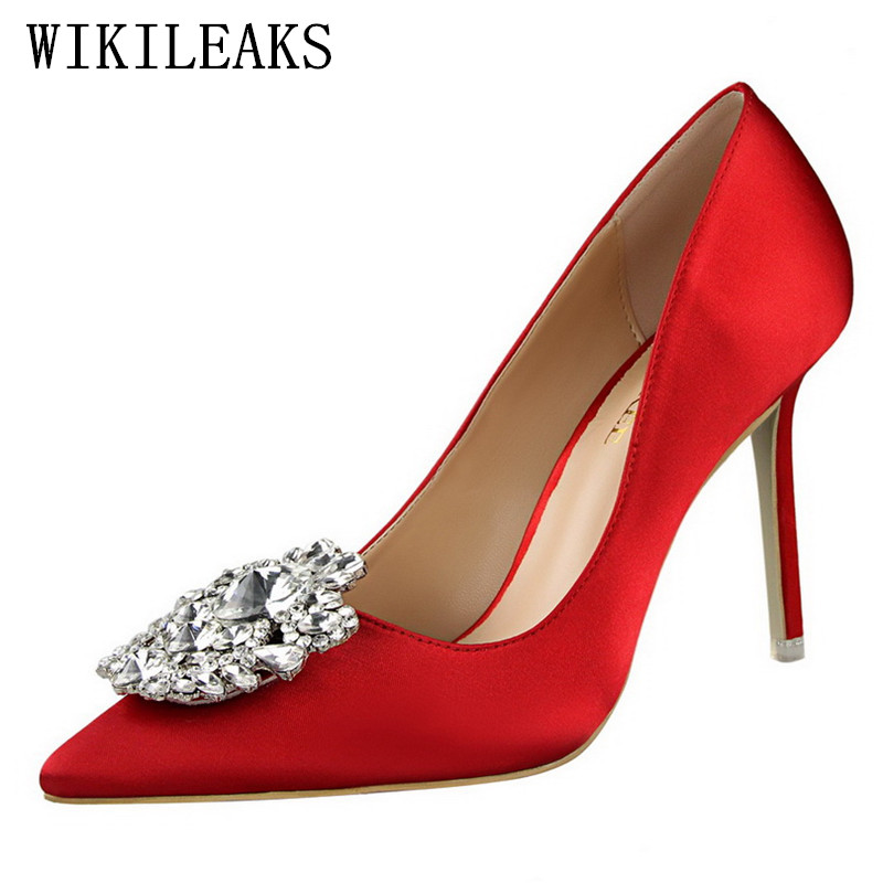 Rouges Femmes 4 7 6 2 Pointu Luxe Talons 1 Chaussures Sexy Pompes Bigtree Concepteur Mariage Soie Bout 3 Dames De Strass 2018 Hauts Marque 5 qqTp1Swr