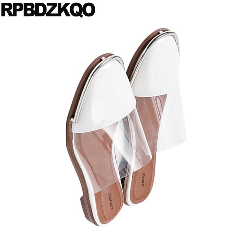 Chaussures Sandales Pantoufles Femmes Clair En Coréenne Mode Designer Automne 2018 Transparent Diapositives Pvc Plat Cuir Mules Beige De Dames Luxe qIf5Bawxa