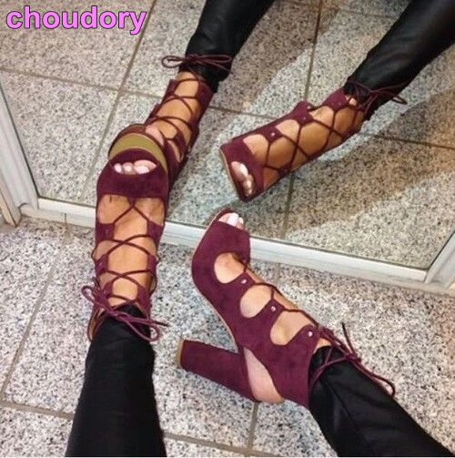 Luxury Brand Wine Red Suede Chunky Heel Sandals Lace-up Open Toe Exposed Heels Gladiator Dress Shoes Thick High Heel Pumps cute rhinestone thick high heels wedding dress shoes woman lace up gladiator sandals pink suede women pumps valentine shoe