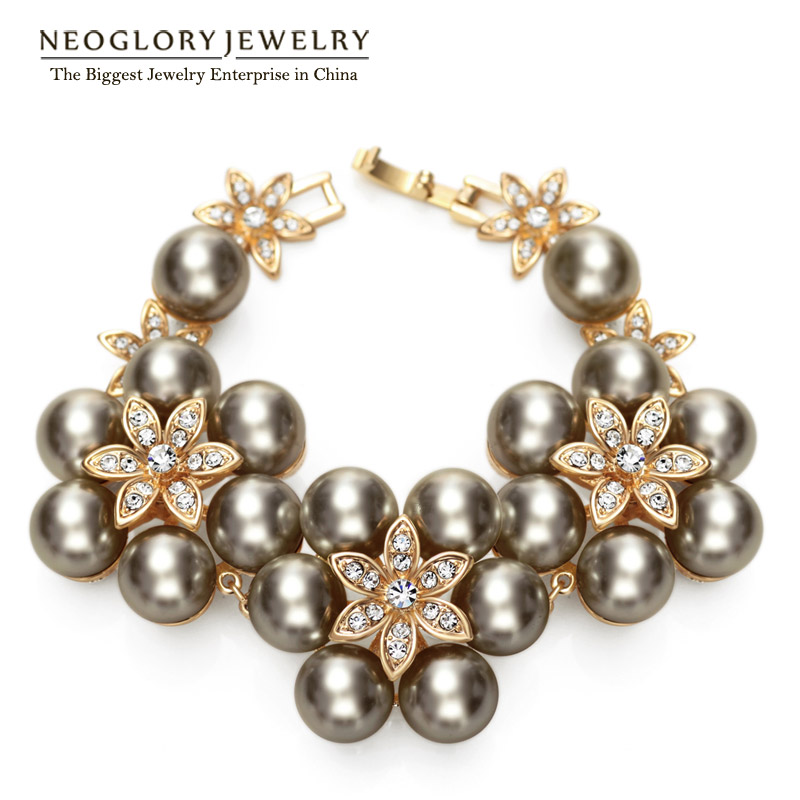 Neoglory Charm Simulated Pearl Bracelets   Bangles Fashion Light Yellow  Gold Color JewelryFor Women Wedding Jewellery Gifts-in Wrap Bracelets from  Jewelry ... bbbd3636865f
