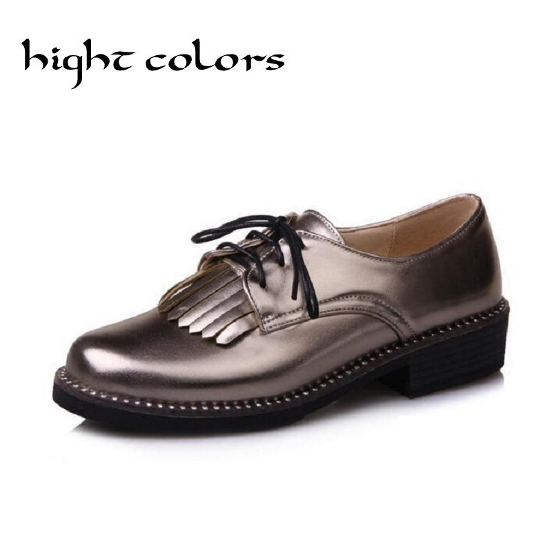 New 2017 Vintage PU Leather Tassel Lace Up Women Flats Fashion British Style Brogue Oxford Shoes For Women Ladies Casual Shoes brand new horsehair oxford shoes for women fashion lace up high top flat british style ladies shoes spring office