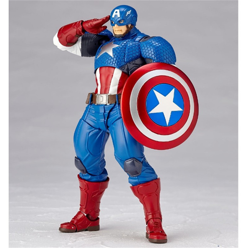 Anime Figure Revoltech Series NO.007 Captain America PVC Action Figures Collectible Model Kids Toys Doll 17cm captain america 12in 1pcs set pvc figures the avenger marvel captain america action anime figures kids gifts toys