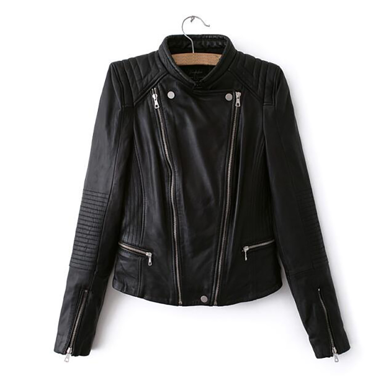 S -L Leather   Jacket   For Women New Spring Fashion Black Khaki Ladies   Basic   Street Women Short Pu Leather   Jacket