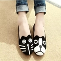 Spring and autumn cat face flat shoes with flat shoes cute dog face casual lazy shoes Peas
