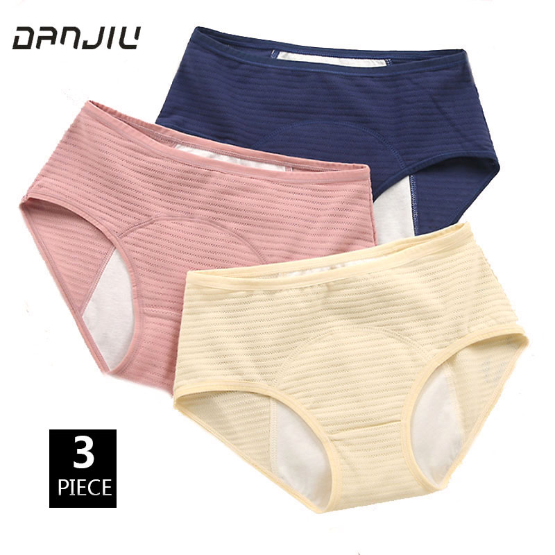 3PCS Cotton Solid Physiological Period Leak Proof Menstrual   Panties   Soft Breathable Mesh Women Underwear Seamless Lady Breifs