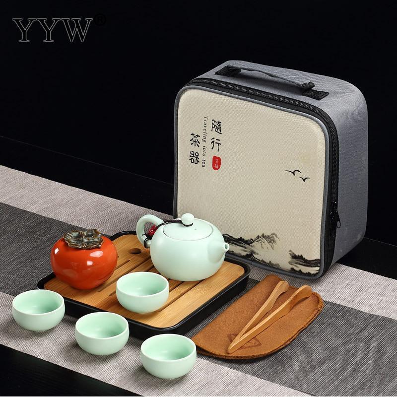 Céramique Puer thé ensembles 3 couleurs thé cérémonie cadeau argile théières accessoires Teaware Celadon thé plateau ensemble élégant Drinkware - 3