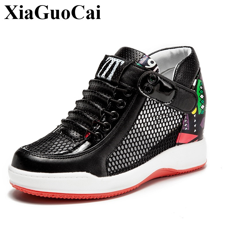 Summer Hollow Breathable Mesh Women Casual Shoes Fashion Graffiti Height-increasing Platform Flats Shoes Student H333 35 summer women s casual shoes sport fashion walking flats height increasing women loafers breathable air mesh swing wedges shoe