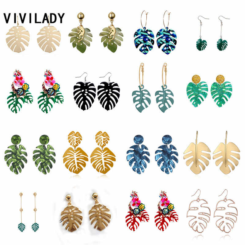 VIVILADY Hot Sale Beach Monstera Leaf Pendant Women Drop Earrings European Brand Tropical Plant Shape Summer Party Jewelry
