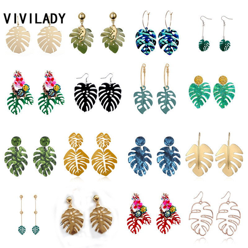VIVILADY Hot Sale Beach Monstera Leaf Pendant Women Drop Earrings European Brand Tropical Plant Shape Summer Party Jewelry