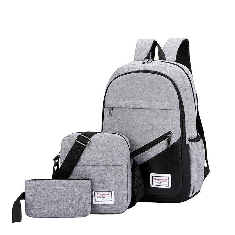 Litthing novo 3 pc/set anti roubo mochila das mulheres dos homens casuais mochila de viagem portátil mochila sacos de escola sac a dos homme zaino