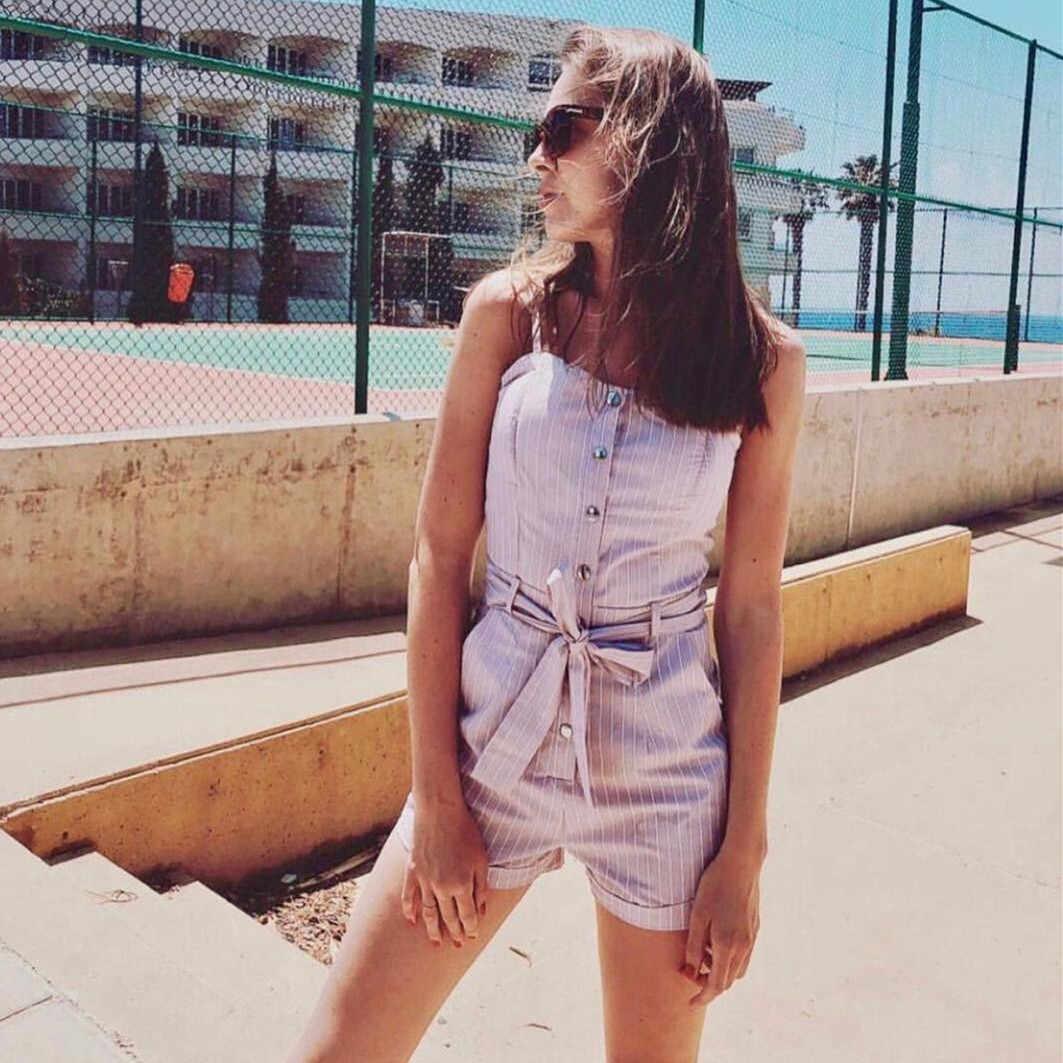 Для женщин костюм пляжного типа без рукавов комплект с шортами боди с поясом комбинезон для Для женщин комбинезон женский комбинезон 2019 Летний комбинезон