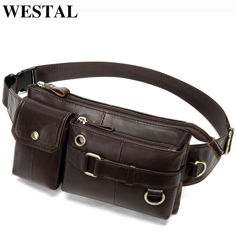 WESTAL Men Waist Bag Genuine Leather Men's Belt Bag Male Fanny Pack for Phone Money Bag Belt Pouch Male Travel Waist Packs 8637