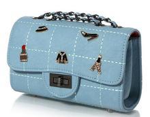 European style women chains single shoulder bag alligator diamonds messenger bag versatile party daily bag 6 colors