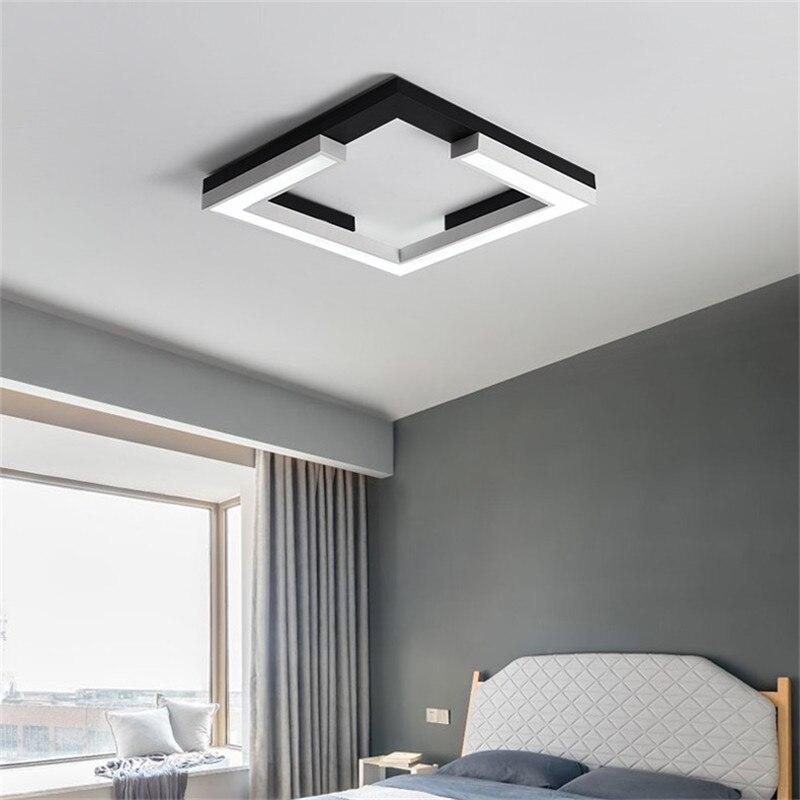 ミニマリズム正方形 plafon led 現代の led シーリングライトリビングルームベッドルームキッチンランプ黒天井ランプ照明器具 -