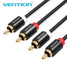 Vention-Cable de Audio macho a macho, 2RCA, 1m, 2m, 3m, para DVD o cine en casa, amplificador VCD, Cable de Audio chapado en oro