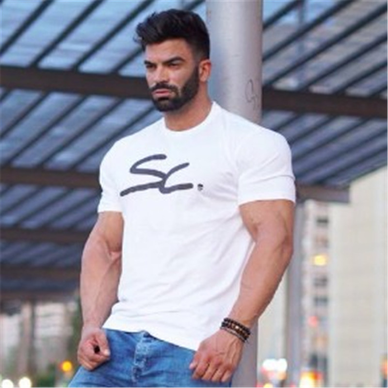 2019 new vogue sizzling sale males's leisure gyms t shirt summer season cool t shirt males quick sleeve slim t shirt high males's model clothes T-Shirts, Low cost T-Shirts,...
