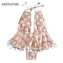 OPENATME 2019 straps one-piece bikini swimsuit ladies V-neck swimwear wave point tassel cute spa Dot printed
