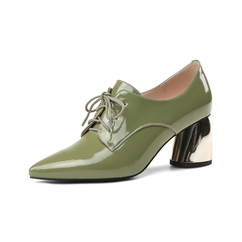 Bureau green Haute Femme Noire Pompes Pointu Talon Automne Robe Dames À Lacets Chaussures Sexy Black Femmes Nouveau Bout Partie 2018 Facndinll IH2WEYD9