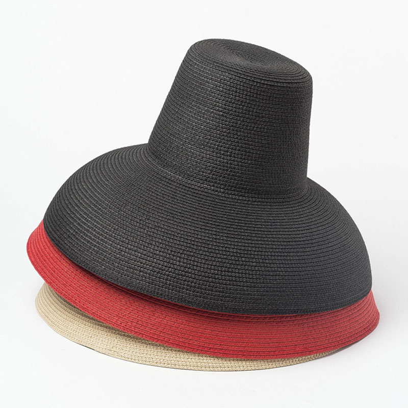 New Women Floppy Lamp Sun Hat Red Black Beige Wide Brim Sunshade Summer Beach Hat High Top Foldable Straw Cap Anti-UV Travel Hat