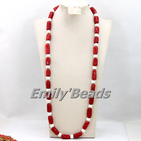 Chunky African Coral Beads Necklace Red Nigerian Wedding African Beads Man Necklace Long Necklace Free Shipping CJ376