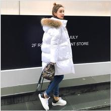 Снег Носить Реальный Меховой Капюшон Парки Зимняя Куртка Женщины Толстые Теплые Хлопка Зимнее Пальто Женщин Casaco Манто Femme