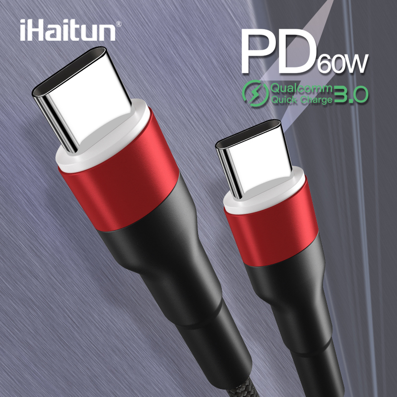 iHaitun Luxury 60W Type C to Cable 3A QC 3.0 4.0 USB 3.1 Speed Fast Charger Quick 4K HD PD Type-C Phone Laptop