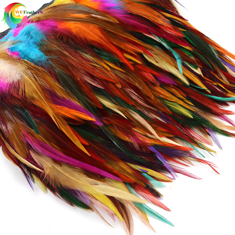 NEW! Multi Color Natural Dyed Rooster Feather Trims Height 4-6inches DIY Dress Sewing Accessories Decoration Ribbon