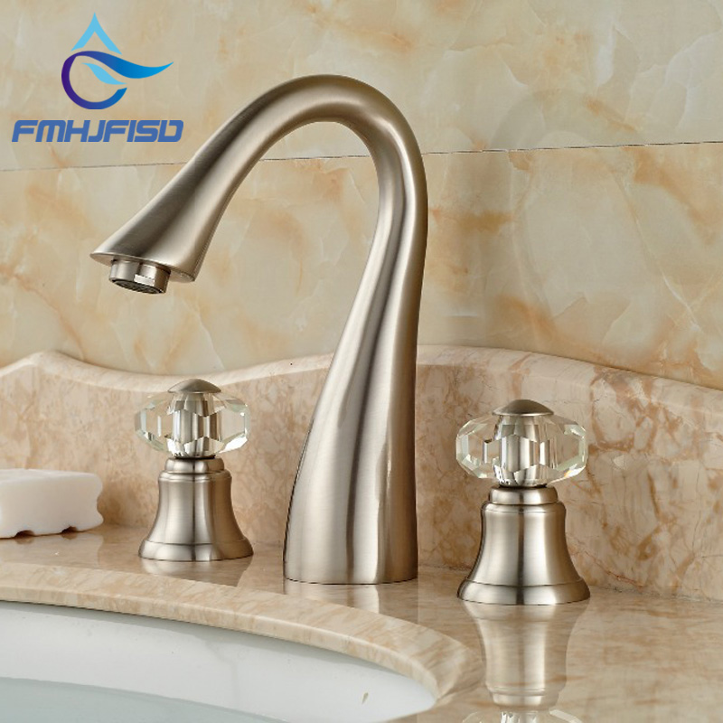 Brushed Nickel Waterfall Spout Bathroom Basin Faucet Crystal Handles Sink Mixer Tap Multiple Types
