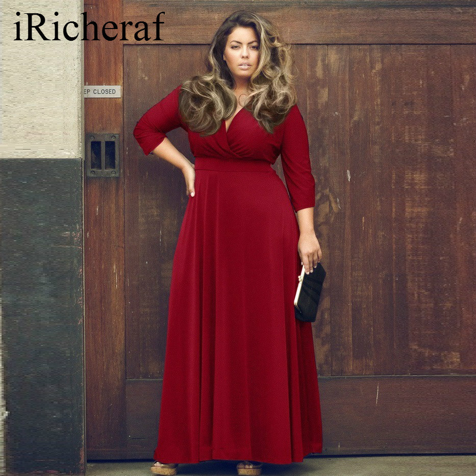 Plus Size Party Dresses For Women V-neck Loose Solid Dropped Waist Fashion Autumn Long Sleeve Maxi Dress Vestidos Sexy 3XL Hot