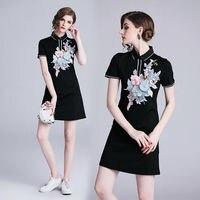 womens Designer 3D embroidery dress clothes summer short sleeve flower black short sleeve Slim Casual party Sport mini dresses