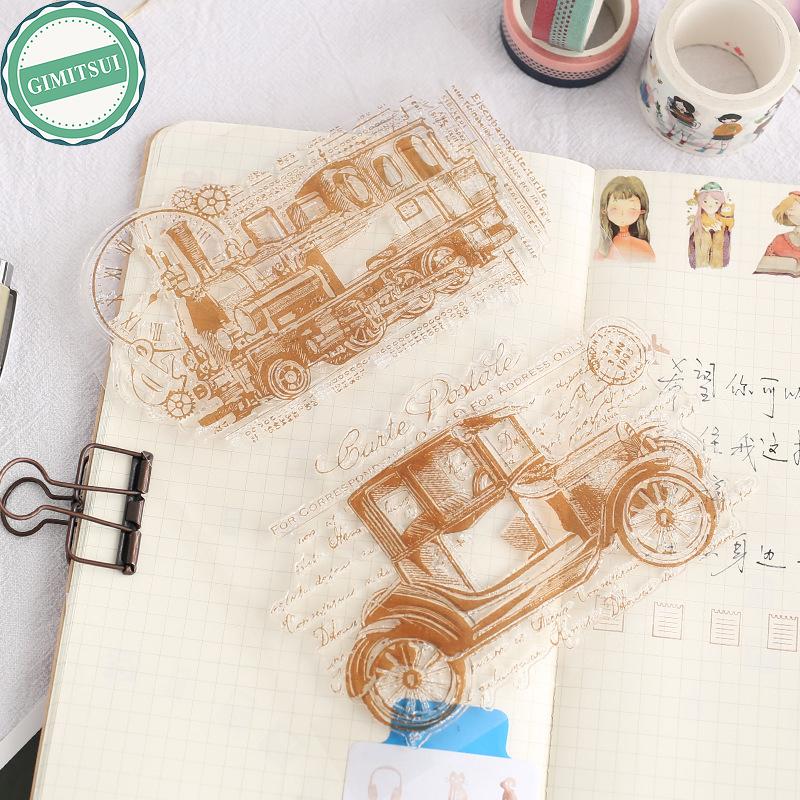 Cars Train Clock Transparent Silicone Rubber Clear Stamp Scrapbooking Embossing Decor Old Timer DIY Diary Album Paper Card Craft