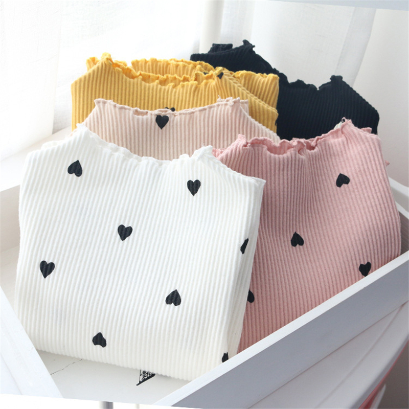 2018 New Winter Baby Girls Long-sleeved O-necked Love Heart T-shirt Bottoming Shirt Cotton Children's Long-sleeved T-shirt(China)