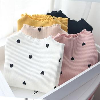 2018 New Winter Baby Girls Long-sleeved O-necked Love Heart T-shirt Bottoming Shirt Cotton Children's long-sleeved T-shirt