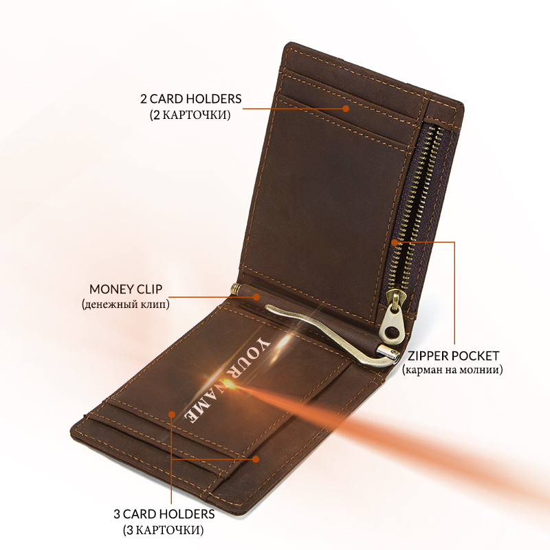 8becd6d762ec Contact's Crazy Horse Leather Men Money Clip Wallet Rfid Solid Male Purses  With Zipper Coin Pocket Card Case Holder High Quality-in Money Clips from  Luggage ...