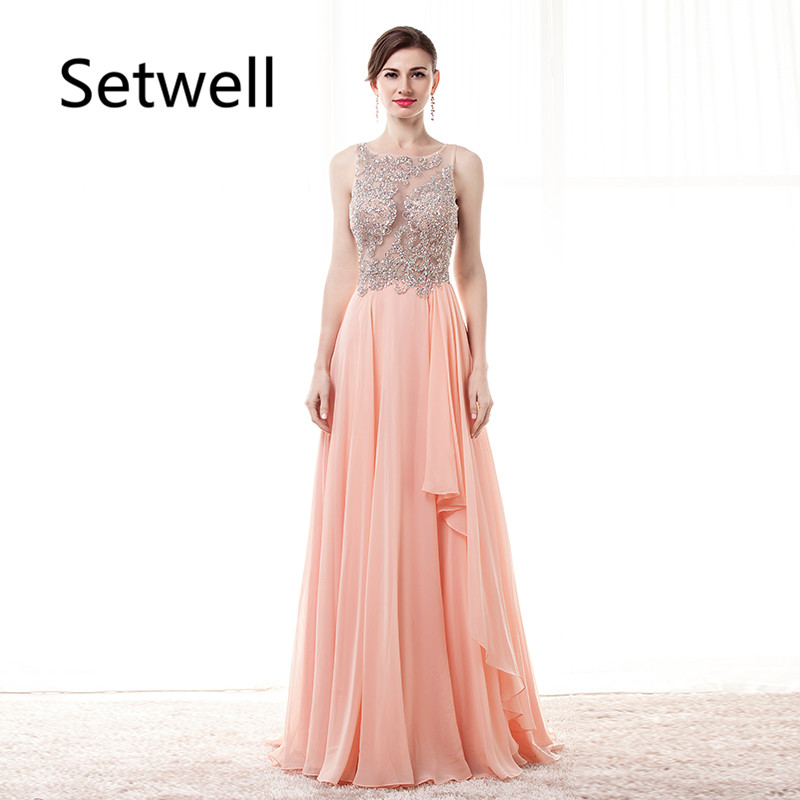 Setwell Summer Chiffon Long   Evening     Dresses   Charming Illusion Back   Evening   Gowns Custom Made High Quality Prom   Dress