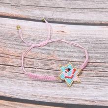 Trendy Flamingo Pink Charm Bracelet Women Miyuki Glass Beads Handmade Weave Star Colorful Bracelets Girl Friendship Pulsera Gift