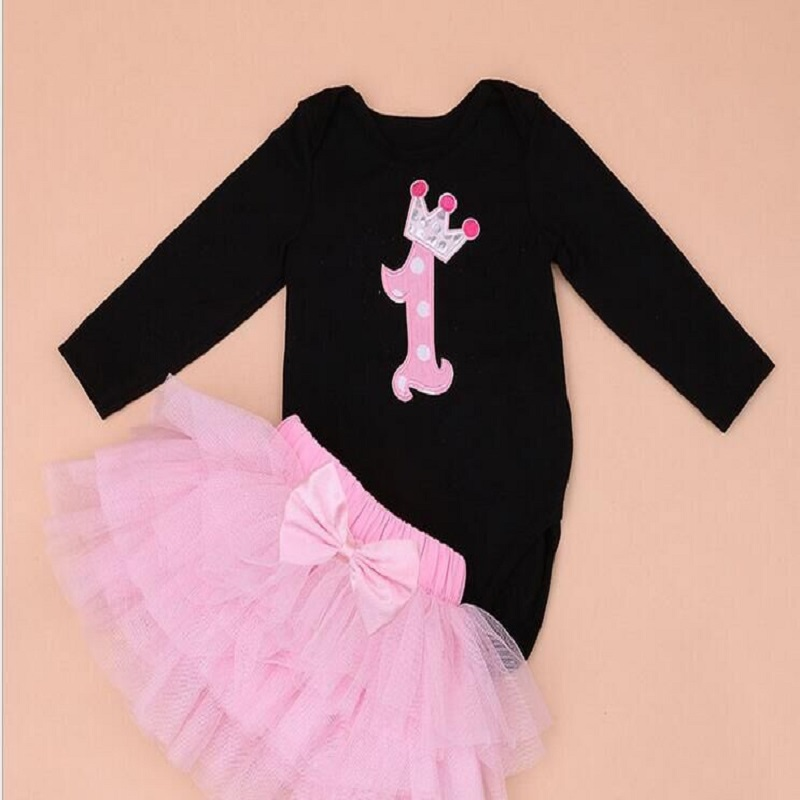 купить New Baby Girl Clothing Sets Infant Easter Romper+Tutu Dress  2pcs Set  black girls rompers First Birthday Costumes festival sets по цене 712.9 рублей