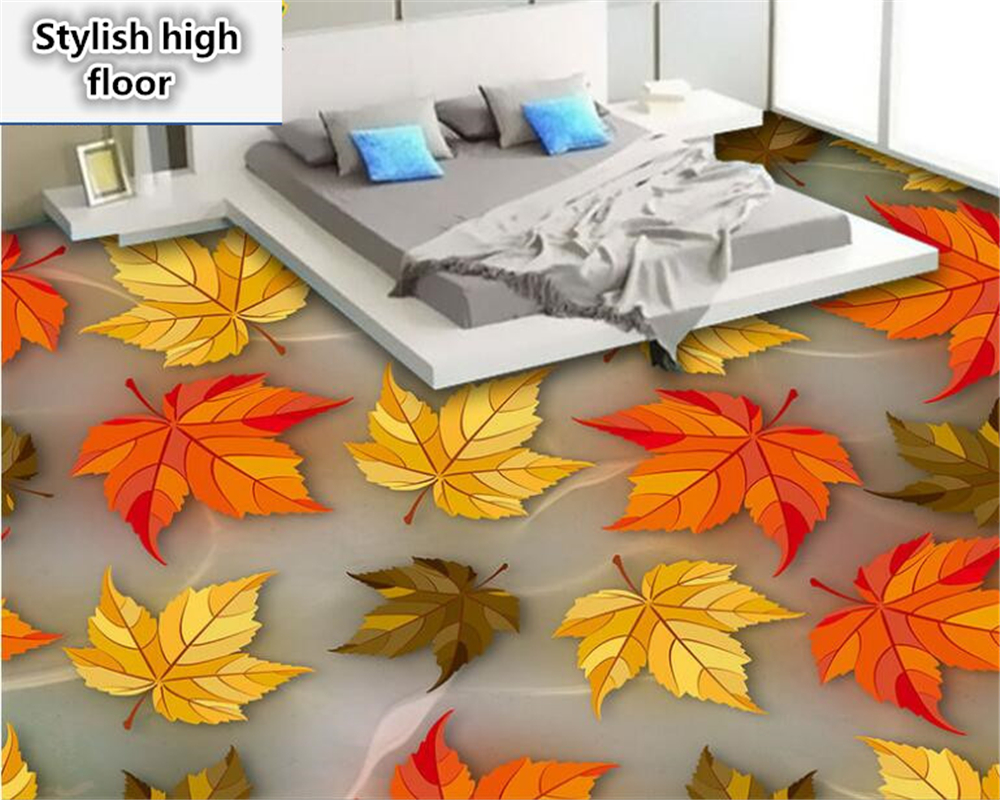 beibehang Fashionable personality decorative painting wallpaper Amethyst leaves colorful deciduous 3D fashion floor 3d