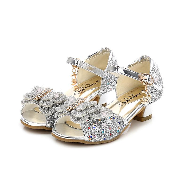 Summer Girls Princess Shoes For Kids Party High Heel Sandals Flower Children Glitter Leather Shoes Butterfly Knot Dress Wedding