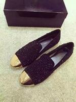 Черные стразы с металлическим носком на плоской подошве, женские лоферы, замшевые zapatillas mujer, повседневная женская обувь, женские балетки на