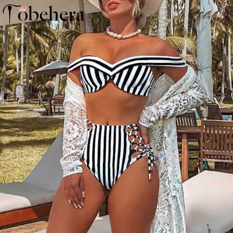f0afde7fbfb Glamaker Striped off shoulder swimsuit Women lace up bathing suit swimwear  Summer two-piece suit